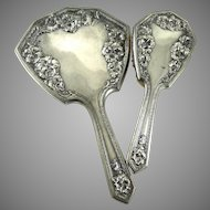 Antique Art Nouveau Silver Plate Hand Mirror and Brush