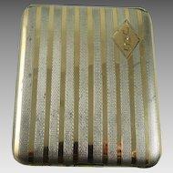 Vintage Art Deco Cigarette Case Sterling Silver and 14K Gold