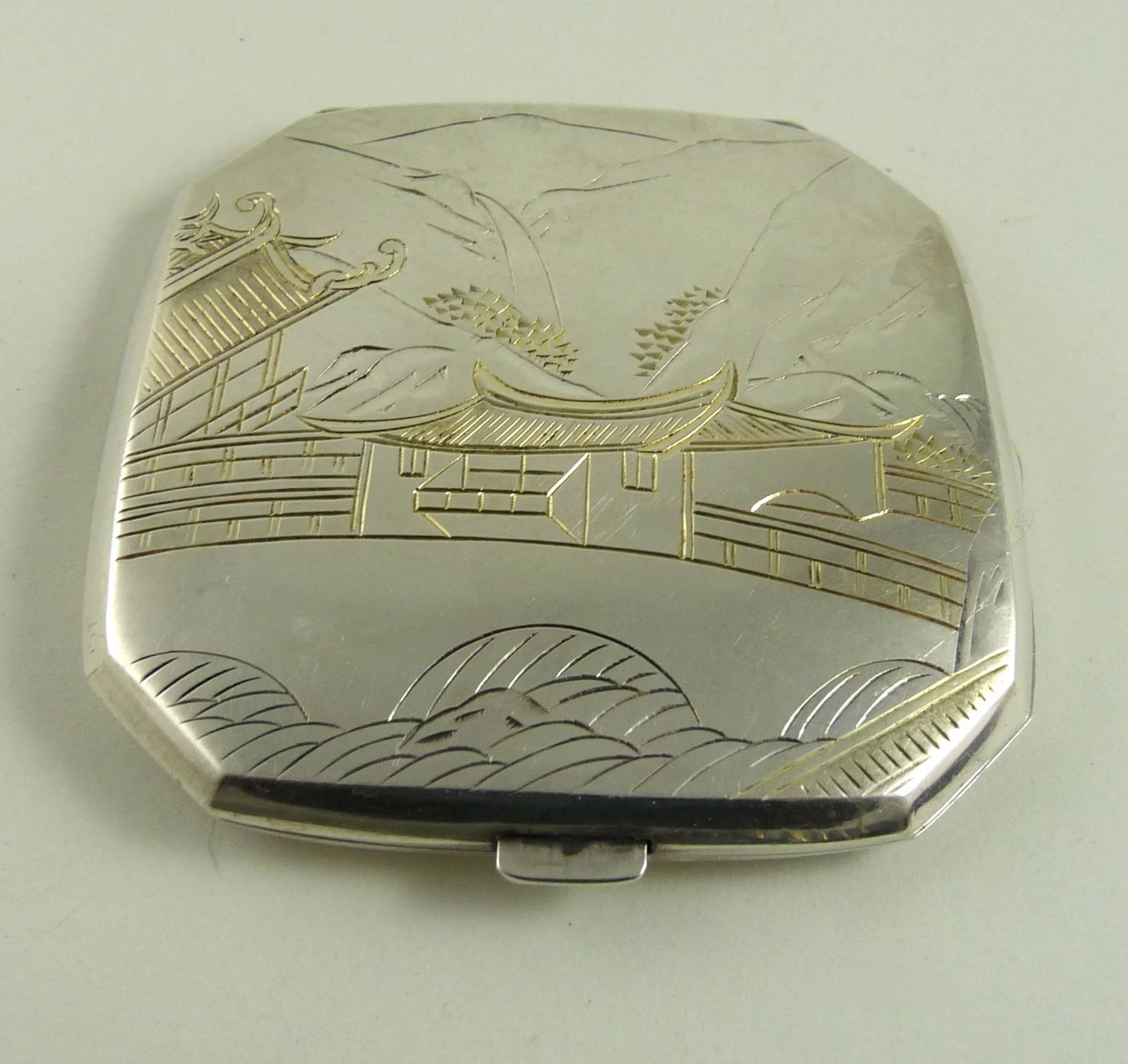 Vintage Japanese Sterling Silver Compact Ornaments