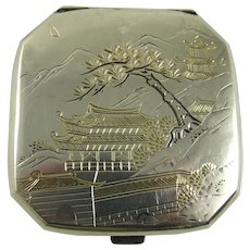 Vintage Japanese Sterling Silver Compact