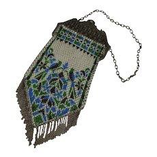 Vintage Art Deco Mandalian Enamel Mesh Bag