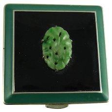 Vintage Art Deco Enamel Jade Compact