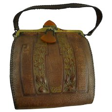 Vintage Arts and Crafts Leather Handbag