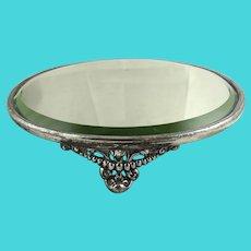 Antique Silver Plate Mirror Plateau