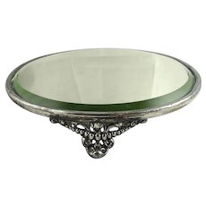 Antique Silver Plate Mirror Plateau
