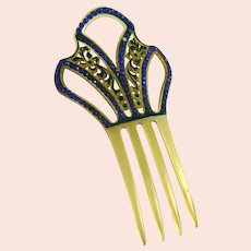 Vintage Art Deco Celluloid and Blue Rhinestone Hair Comb