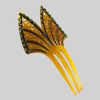 Vintage Art Deco Era Hair Comb Ornament Celluloid Rhinestone