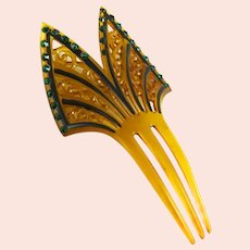 Vintage Art Deco Era Hair Comb Ornament Celluloid Rhinestone
