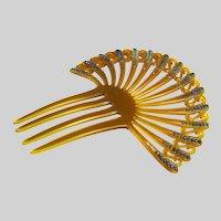 Vintage Art Deco Fan Shaped Celluloid Rhinestone Hair Comb