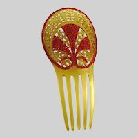 Vintage Art Deco Celluloid and Red Rhinestone Hair Comb