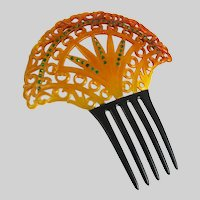 Vintage Art Deco Celluloid and Rhinestone Comb Orange and Black