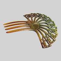 Vintage Art Deco Green Hair Comb Ornament with Blue Rhinestones