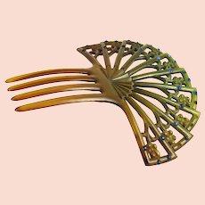 Vintage Art Deco Green Hair Comb Ornament with Blue Rhinestones