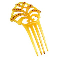 Vintage Art Deco Celluloid and Rhinestone Comb Petite
