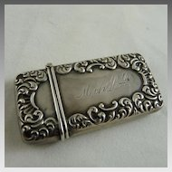 Antique Victorian Sterling Silver Repousse Match Safe Vesta