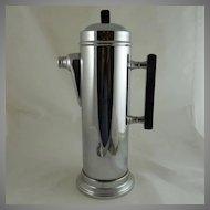 Art Deco Style Chrome and Black Bakelite Cocktail Shaker