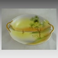 Vintage Nippon Porcelain Bowl or Vegetable Dish Lake Scene