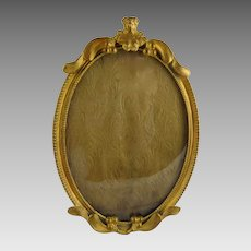 Antique Art Nouveau Gilt Brass Frame Oval
