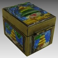 Vintage Chinese Export Brass and Enamel Stamp Box