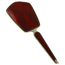 Vintage Art Deco Sterling Guilloche Hand Mirror Red Enamel