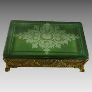 Vintage Gilt Brass Ormolu Box Green Cut to Clear Glass Lid Wheel Engraved
