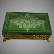 Vintage Gilt Brass Ormolu Box Green Cut to Clear Glass Lid Wheel Engraved