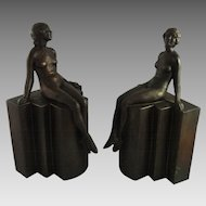 Vintage Art Deco Bookends Nude on Pedestal