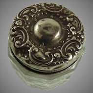Antique Art Nouveau Sterling Silver and Glass Rouge Pot Vanity Jar