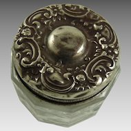 Antique Art Nouveau Sterling Silver and Glass Rouge Pot Vanity Jar