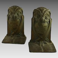 Vintage Art Deco Owl Bookends