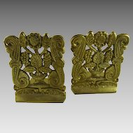 Vintage Brass Bookends Flowers Scrolls