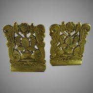 Vintage Brass Bookends Flowers Scrolls