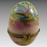 Vintage Egg Shaped Porcelain Limoges Box