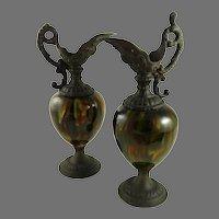 Antique Victorian Mantle Ewers Pair Majolica