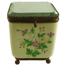 Antique Porcelain Perfume Casket Mirrored Top
