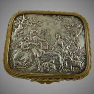 Vintage Brass Vanity Box with Pastoral Scene