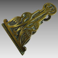 Antique Arts and Crafts Brass Desk Clip