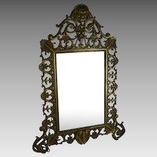 Antique Victorian Vanity Mirror Gilt Metal