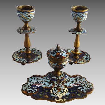 Antique French Champleve Enamel Inkwell and Candlesticks