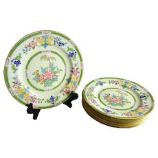 Antique Mintons Dessert Plate Set of Six Chinoiserie Decorated Minton E B Taylor Co.