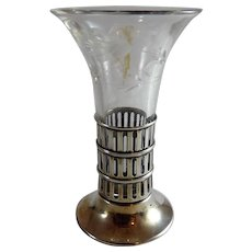 Vintage Sterling Silver and Cut Glass Bud Vase Webster