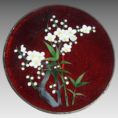 Vintage Japanese Ginbara Cloisonne Cabinet Plate Pigeon Blood Red