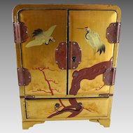 Vintage Vantines Japanese Lacquer Jewelry Box Armoire