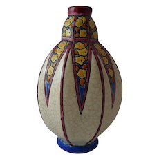 Vintage Art Deco Longwy Vase with Crackle Glaze and Stylized Flowers