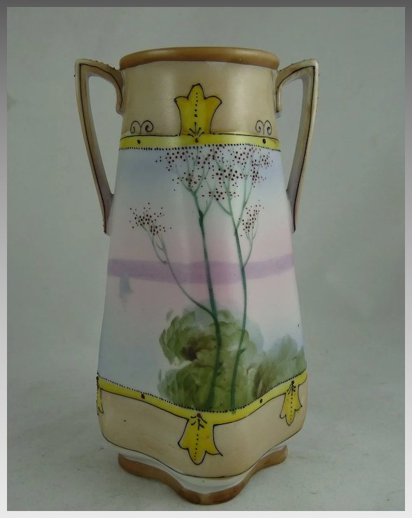Vintage Nippon Two Handled Vase With Lake Scene And Trees