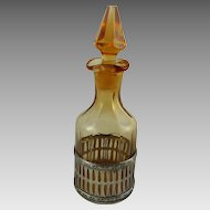 Amber Glass Cruet Mounted in Sterling Silver