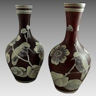 Pair of Antique Victorian Florentine Cameo Glass Vases