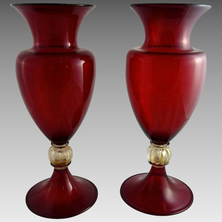 Vintage Pair Of Art Deco Murano Ruby Glass Vases Ornaments Ruby Lane