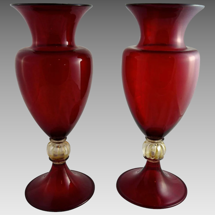 Stunning Pair Of Glass Retro Vases Art Glass