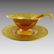 Vintage Cambridge Glass Mayonnaise Set Gold Encrusted Etch